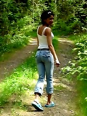 Horny girlfriend strips naked in the forest
