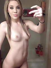 Teens posing in the nude while selfshooting