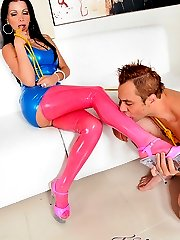 Latex clad mistress teach her man a lesson