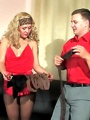 Well-hung guy appraising babes luxury hosiery with wild doggystyle fuck