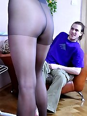 Hot girl getting pre-party sex wearing just her dark control top pantyhose