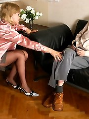 Smart looking blonde in tan pantyhose riding cock without taking them off