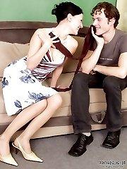 Sweet couple kissing through nylon pantyhose before frantic banging on sofa