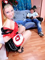 Funky babe in nurse uniform and sheer pantyhose cowgirl riding on a pecker