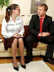 Kinky secretary getting impaled on rocky cock with her suntan pantyhose on