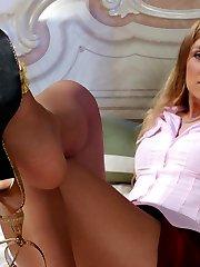 Naughty babe in tan pantyhose fingering her beaver before tasting her feet