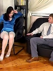 White-stockinged brunette caught dildo toying at work getting humped hard