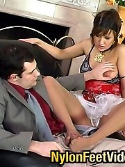 Raunchy babe in barely visible pantyhose getting nailed after foot-massage