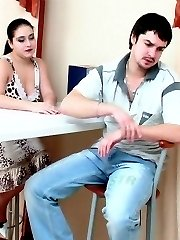 Randy lady-boss in grey stockings jumping on enormous shaft like real pro