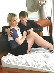 Sizzling hot couple double their pleasure playing with soft silky pantyhose