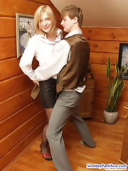 Awesome secretary babe looking at horny guy jerking off pantyhose clad cock