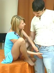 Cutie getting her sexy nylon clad feet licked before breathtaking fucking