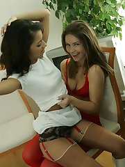 Lesbian kissing in our panties