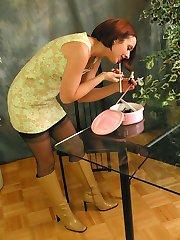 Pretty girl striptease in stockings