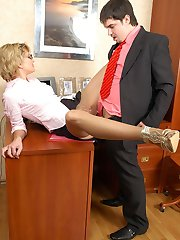Hot secretary in control top pantyhose starts her working day with fucking