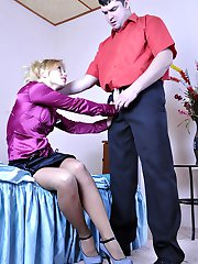 Blonde office girl getting licked and pounded right in her sheer pantyhose