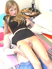 Lustful babe in smooth pantyhose giving perfect legjob in various positions
