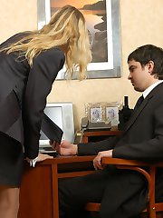 Lusty gal in barely visible pantyhose ready for interview after hot dicking