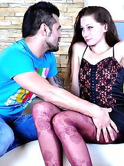 Leggy hottie gets her colored patterned pantyhose creamed after raw dicking