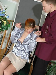 Wicked babe teasing a guy spreading her legs clad in crotchless pantyhose