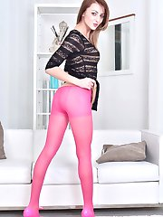 Kate plays provocatively in her beautiful sheer rich pink pantyhose!