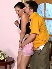 Horny guy spying upon lascivious babe caressing her pantyhose clad pussy