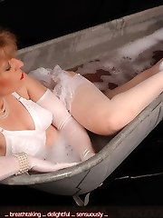 Angel having a tub in white clothes and tights