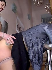Bombshell in lacy hose flirting with her neighbour completing up fucking on stairs