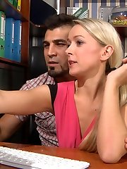 Blonde office babe in semi-opaque tights getting nailed by a naughty coworker