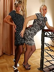 Lewd towheaded in contrast top stockings burying her face into a chick�s pinkish
