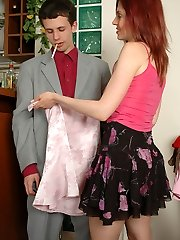Sissified guy in shiny pantyhose giving intimate cootchie massage through nylon
