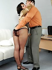 Luscious assistant in black pantyhose seducing her boss into outrageous sex