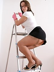 Up a ladder tights upskirt