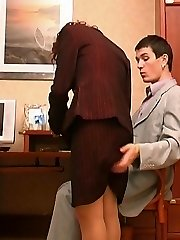Bawdy assistant in silky stockings knows the best way of lunch break