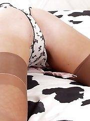 Hot towheaded in nylons