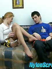 Sensual doll in suntan stockings sharing her sex desire with her boyfriend