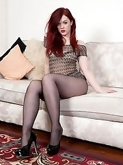 Ginger-haired, black pantyhosed clad Jaye telling her own toy story!