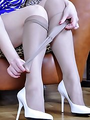 Seductive towheaded puts on her clingy sundress and crotchless tights for a date