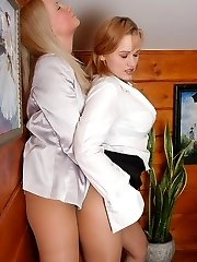 Spicy secretary gals pulling down their pantyhose and fingering edible pinks