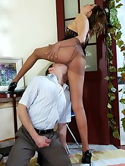 Super-steamy guy ready to fulfill every desire of slutty milf in control top stocking