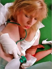 Doctor Angel gives a patient a nylon hand-job
