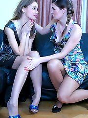 Lusty lesbian babe fits on her new nylons and goes for wet lesbian kissing