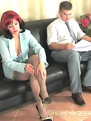 Smashing gal in grey stockings is ready for mind-blowing fucking adventures