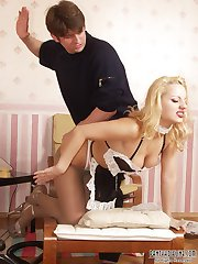 Kinky pantyhose French Maid gets spanked and gives blowjob
