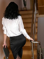 Tall and lean office girl in black tights getting nasty with her dildo toy