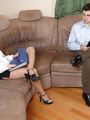 Hot female co-worker in elegant pantyhose longing for a sizzling cock break