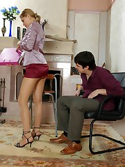 Cutie in soft silky pantyhose kneeling to give slurp blowjob before hot sex
