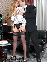 Curly gal in slight sheen stockings rubbing her clitty while jamming shaft