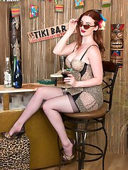 Get in swinging holiday mood, join Zara in our Tiki bar! She is expert in entertaining, tempting with great tits, shapely nyloned legs and an adorable trimmed fiery juicy bush!