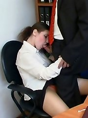 Sex-insatiable co-worker impatiently degustating pantyhosed cherry pie under the table